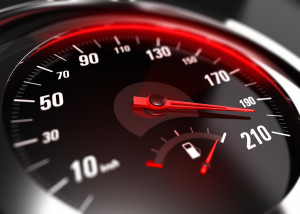 speedometer displays car reaching 200mph